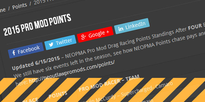 NEOPMA Pro Mod Drag Racing Points