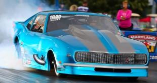 Andy Jensen Smoking the tires single turbo camaro pro mod